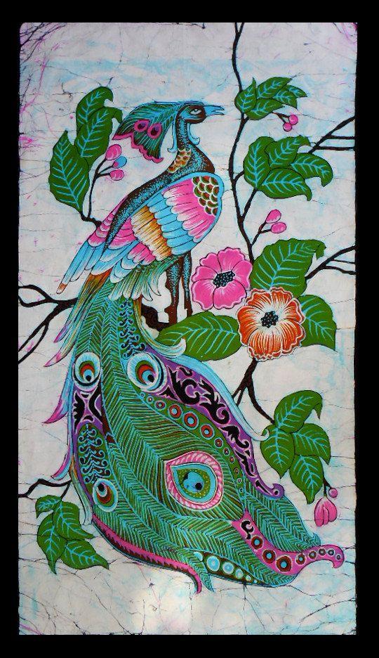Peacock Among Flowers - Batik Wall Hanging - Tapestry Batik Art - Hand made