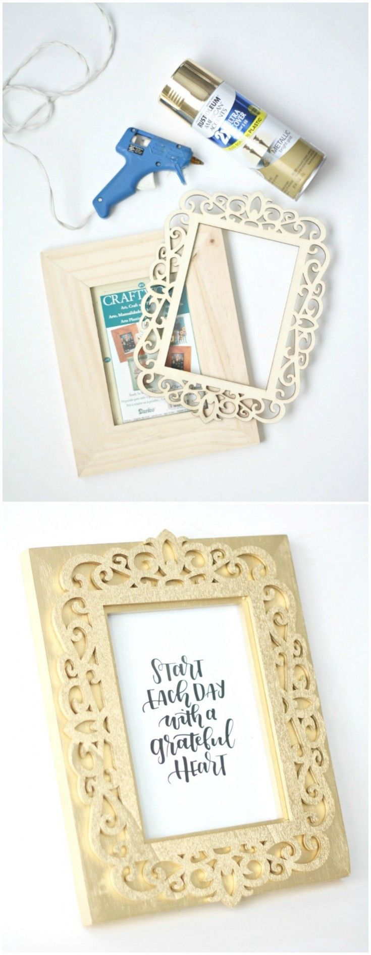 This DIY picture frame is such an eye catching project! Use spray paint to make it look like 14k gold. Very easy and very budget friendly! via @diy_candy