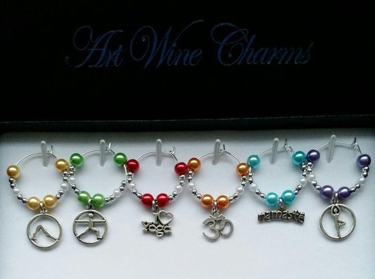 6 yoga themed wine charms yoga namaste yoga gift gifts