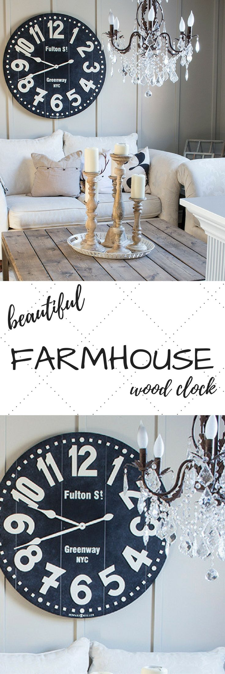 Beautiful wood clock {Bed, Bath & Beyond} ... I've been wanting this gorgeous piece for our living room, and came across this priced best at BBB! I'm so excited to get this up! Love the dark black pallet wood - it makes those big bold white numbers really pop!   || farmhouse decor, round clock, pallet wood clock, large clock, farmhouse style, farmhouse living room, farmhouse dining room, farmhouse kitchen, farmhouse bedroom, clocks diy, diy clocks, rustic home decor, rustic kitchen ||