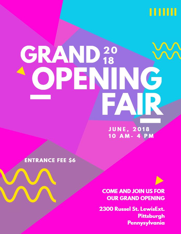 Geometric Grand Opening Fair Poster Flyer Social Media Post Template