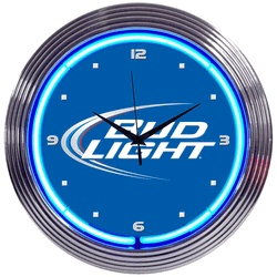 "BUD LIGHT NEON CLOCK-NN8BUDLI  15"" wide, 15"" high, 3"" deep  Always make sure you know when it's happy hour with our Bud Light Neon Clock! Generating 25 watts of illumination from a hand blown ring of neon glass, the Bud Light Neon Clock has a glass face and either black or chrome finished rim in a multi-tiered, art deco style."