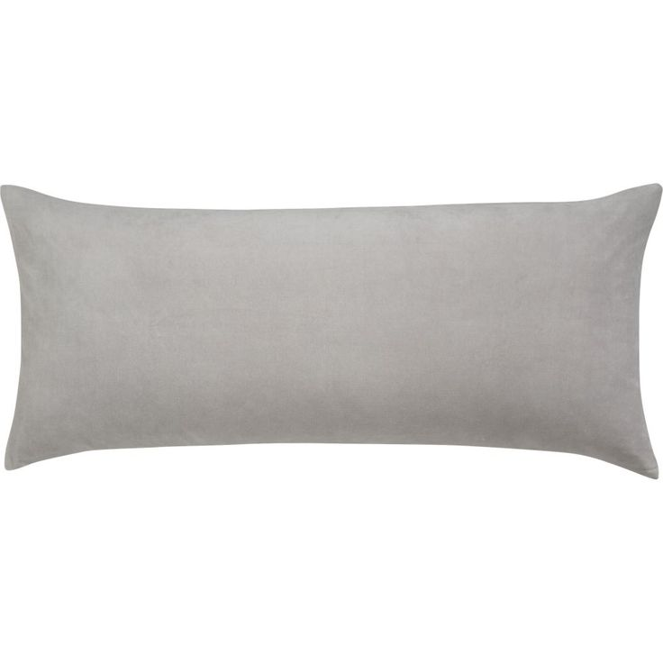 """36""""""""x16"""""""" leisure silver grey pillow with down-alternative insert"""
