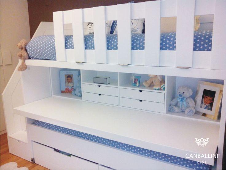 Litera con escritorio extraible para habitaciones - Habitaciones juveniles con dos camas ...