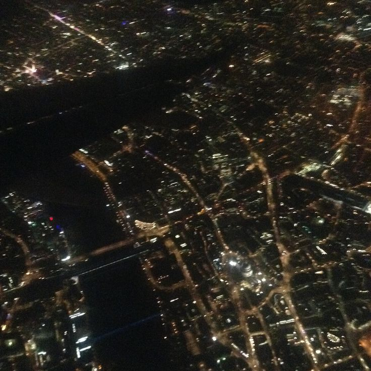 St Paul's from the air. Approaching Heathrow at night.