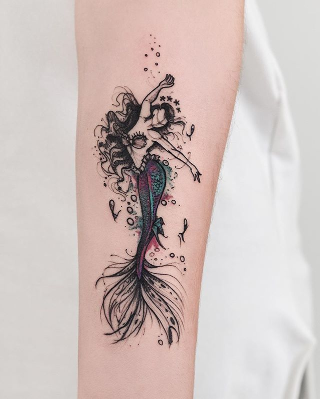 sketch style mermaid tattoo