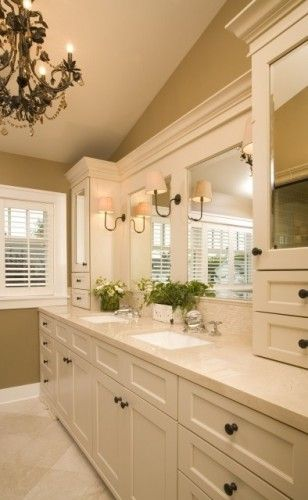 Beautiful Bathroom Vanity- White enamel. Notice how the mirrors are encased. Also like the delicate backsplash tile.
