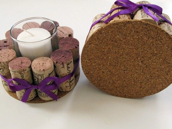 Wine Cork Votive Holders with Purple RibbonSet by LizzieJoeDesigns