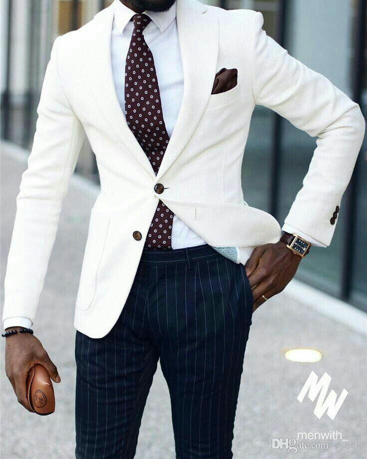 Ivory Men Suits Groom Wedding Tuxedos Stripe Pants Formal Business Suits Groomsmen Suits Man Blazer Bride Cost Mens Dress Trousers Blazer Outfits Men Men Dress
