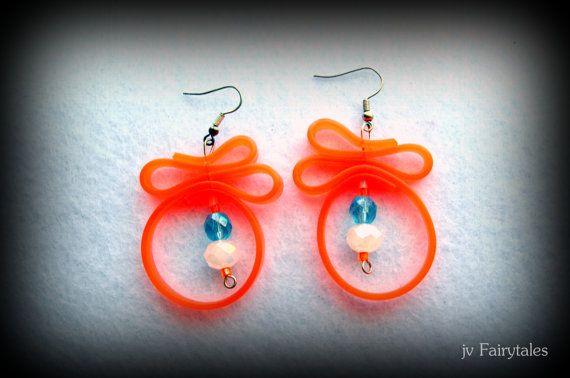 Orange rubber earrings caoutchouc earrings by jvFairytales on Etsy