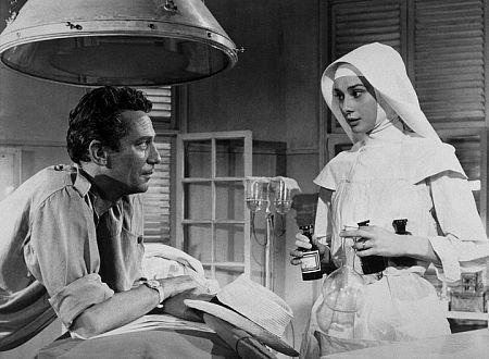 """Audrey Hepburn alongside co-star Peter Finch in """"The Nun's Story."""""""