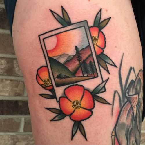 joshbargtattoo:  One from yesterday. Email joshbargtattoo@yahoo.com for booking. #tattoo #polaroid #sangabrielmountains #poppies #mtbaldy   Josh Barg