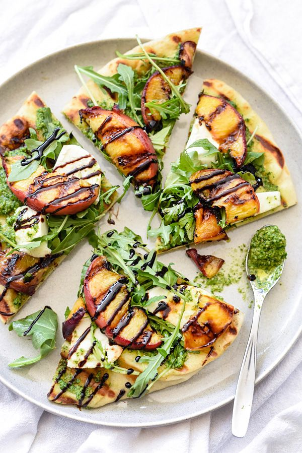 Grilled Flatbread with Peaches and Arugula Pesto  / foodiecrush.com