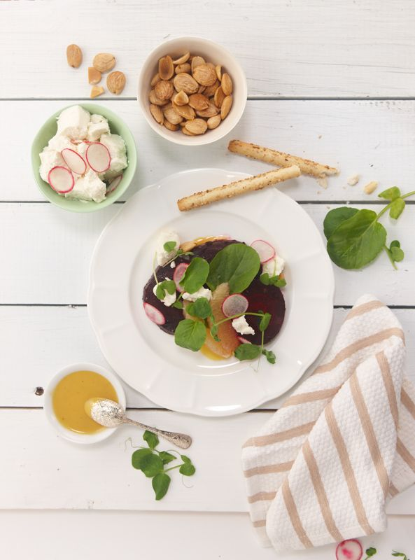 Roasted beets and watercress salad with goat's milk cheese, radish ...