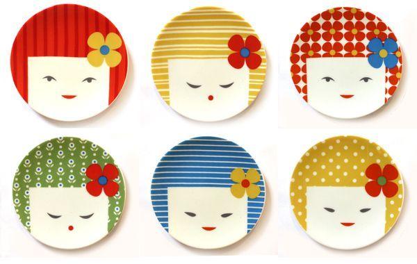 kokeshi small plate set