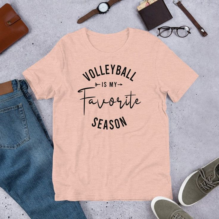 Volleyball Is My Favorite Season T Shirt Cute Volleyball Player Gift Short Sleeve Unisex T Shirt Volleyball Mom Graphic Sport Tee T Shirts For Women Shirts Tee Shirts