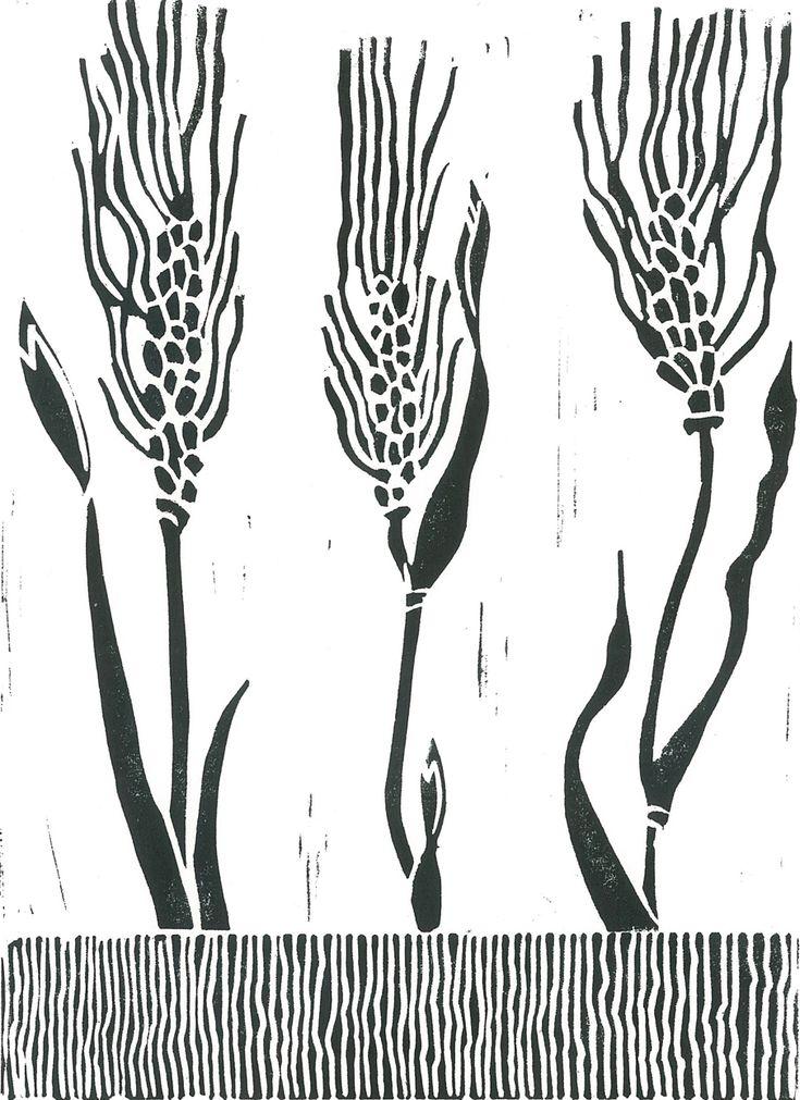 WHEAT GRASS  Linocut Print