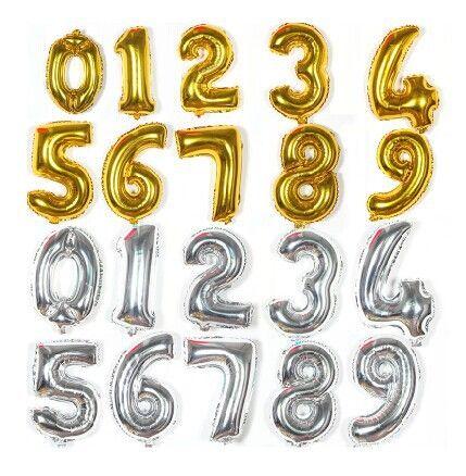 Ballons 16 polegada de Prata 0 1 2 3 4 5 6 7 8 9 Número Opcional Carta Balão de Alumínio Folha de balão de Hélio Balões de Aniversário de Casamento partido