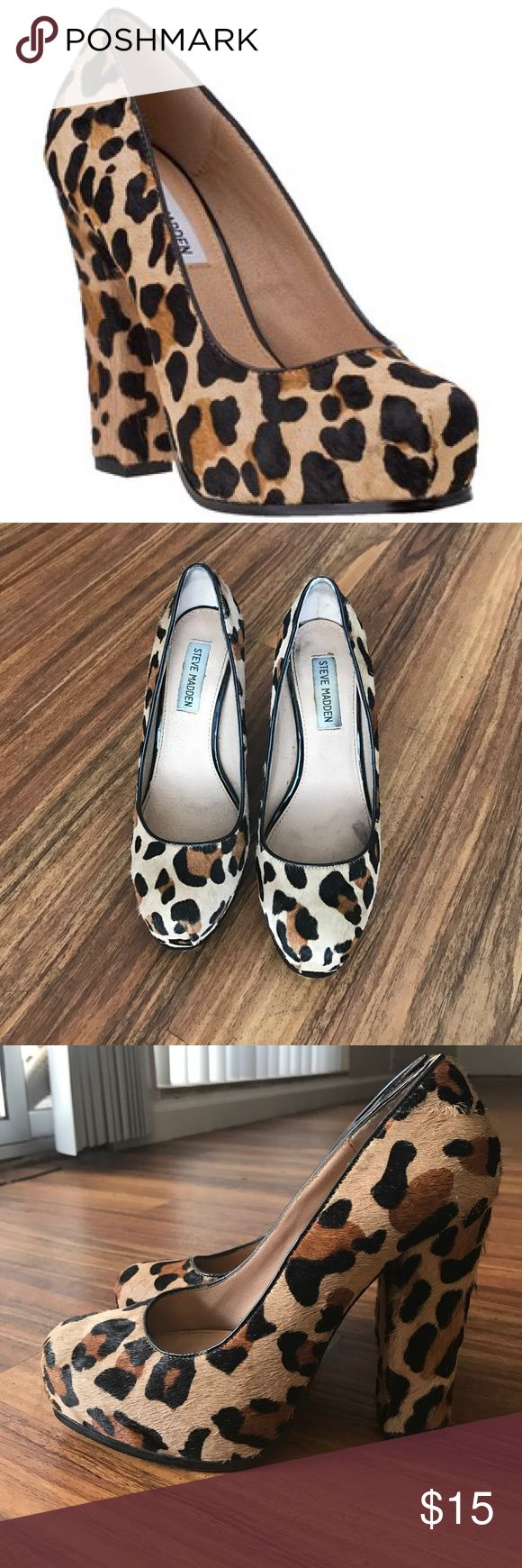 Steve Madden Sarina Cheetah Heels 5inch thick heel Steve maddens. Slightly worn, but in good condition. Steve Madden Shoes Heels