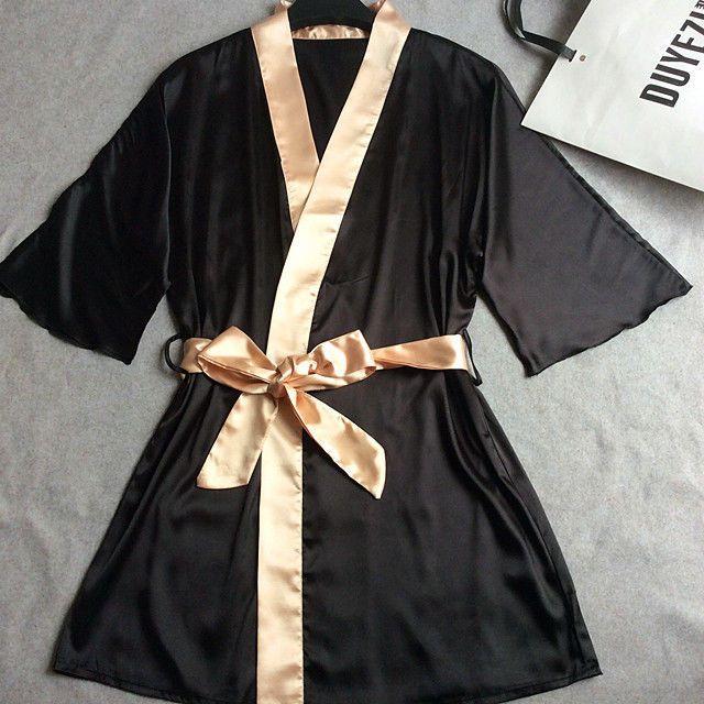 Women Silk Satin Short Night Robe Solid Kimono Robe Fashion Bath Robe Sexy Bride #Unbranded #RobeGownSets #wedding