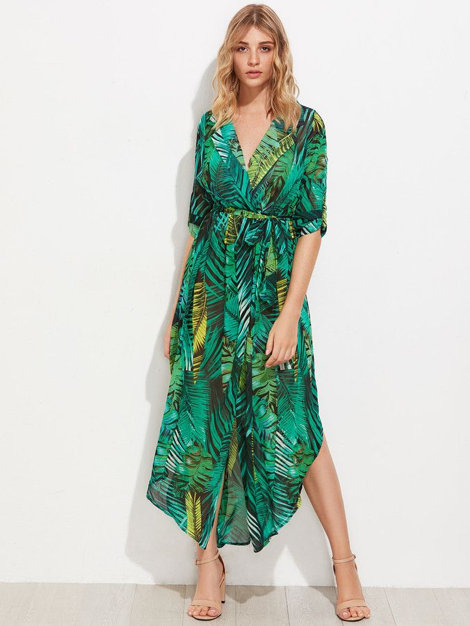 8c702ec8ad Allover Palm Leaf Print Curved Hem Shirt Dress | Women's fashion from  Shein, cute clothes and outfits #shein #shopping #affiliatelink  #womensfashion ...
