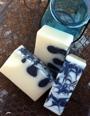 "A shea butter and activated charcoal soap, with kaolin clay and tussah silk, and BB's Karma essential oil blend, a ""nearly natural"" (how fitting!) dupe of a Lush fragrance.--Glad Heart Soaps"