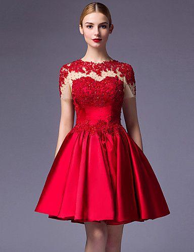 Vestido-Vermelho Festa de Coquetel De Baile Decorado com Bijuteria Até os Joelhos Cetim de 4933658 2016 por $99.99                                                                                                                                                                                 Mais