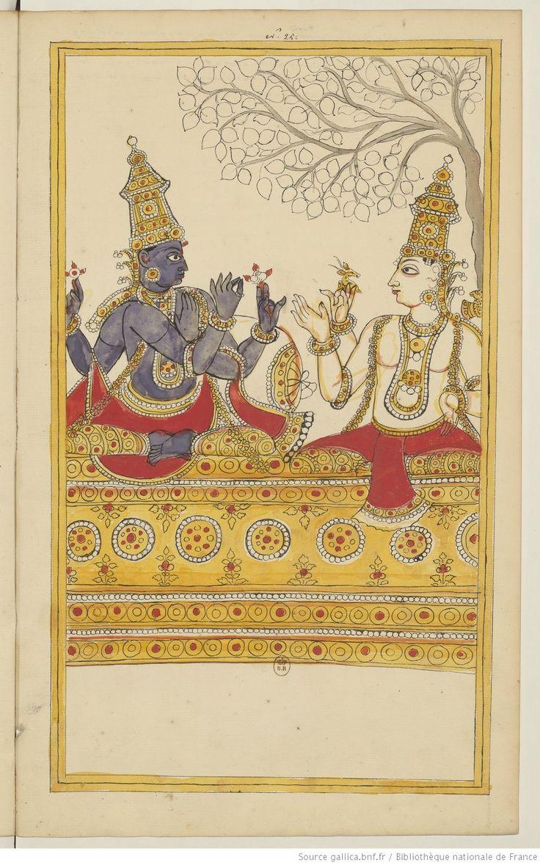 http://expositions.bnf.fr/ Dialogue entre Vishnu et ShivaAlbum de 185 illustrations de l'Histoire de ShivaKarikal (Tanjore), entre 1727 et 1758Bibliothèque nationale de France, département des...