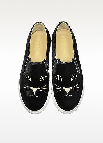 Charlotte Olympia Cool Cats Black Velvet Slip On Sneaker