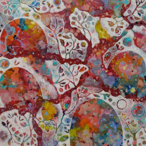 Rosetta Santucci artist - wonderful colours Melt into dusk acrylic on canvas