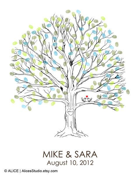 Hand Drawn Wedding Guest book Fingerprint Tree Print - Guest Book Alternative Poster - Fingerprint Guest Book Tree - Free Gift with Purchase...