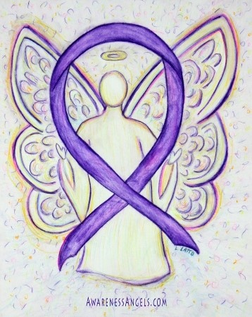 A purple awareness ribbon supports Pancreatic Cancer, Crohn's Disease and Colitis, Alzheimer's Disease, Anti-Gay Bullying (Spirit Day), Cancer Survivor (All Kinds), Domestic Violence, Lupus, Leiomyosarcoma, and Fibromyalgia. Let this purple awareness ribbon support their causes!