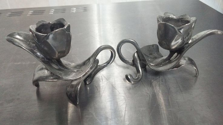 Seagull Pewter Candle Holders - Tulip design.
