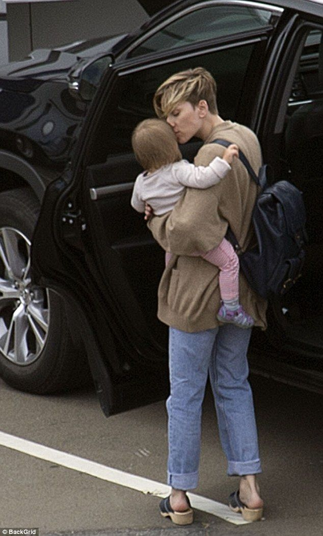 Mommy mode! Actress Scarlett Johansson kissed her daughter Rose tenderly before placing her in the car as she leftMiramar's Stone Street Studios in Wellington, New Zealand on Monday