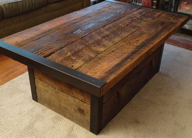 Industrial Coffee Table - Could use pier wood (free) and angle iron from home depot to built coffee table easily and cheaply.  I'd just bigger fasteners like rivets on the metal.