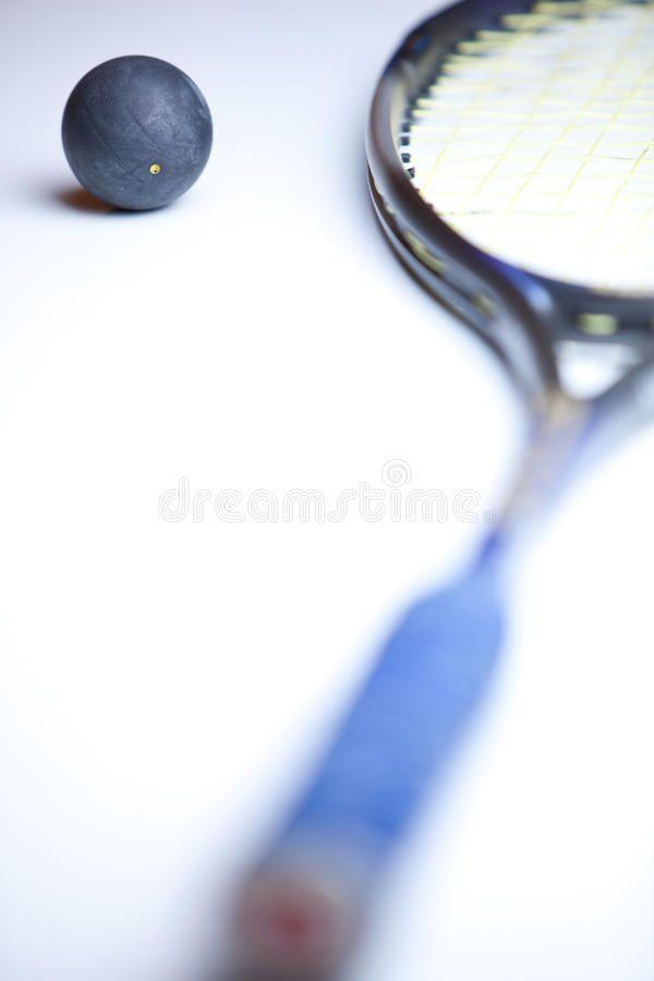 Kurbiskugel Und Schlager Auf Weissem Hintergrund Squashball Und