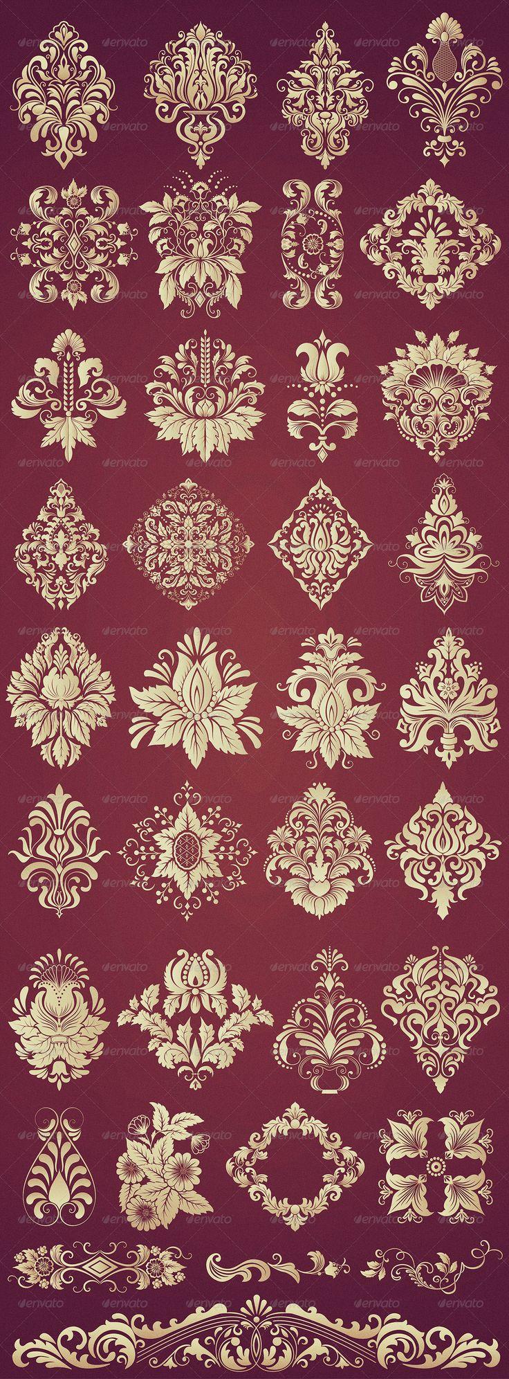 36 Damask Ornamental Elements