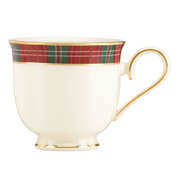 Bring the richness of a tartan plaid to your Holiday table with the Winter Greetings Plaid Cup. bordered in an elegant green and Red plaid and accented in gold, this sophisticated dinnerware celebrate