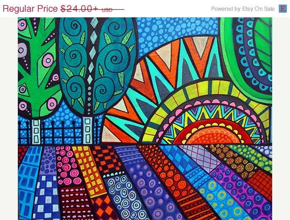 50% SALE- FOLK ART Print landscape tree Art Poster Print of painting by Heather Galler