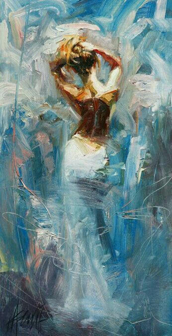 Stunning lady in the most beautiful blue painting. I think by Michael and Inessa Garmash