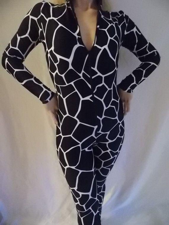 catsuit body suit unitard leotard BLACK giraffe by mjcreation, $145.00