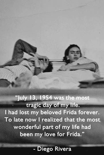 Frida and Diego laying in bed--Diego mourns the loss of his beloved Frida.