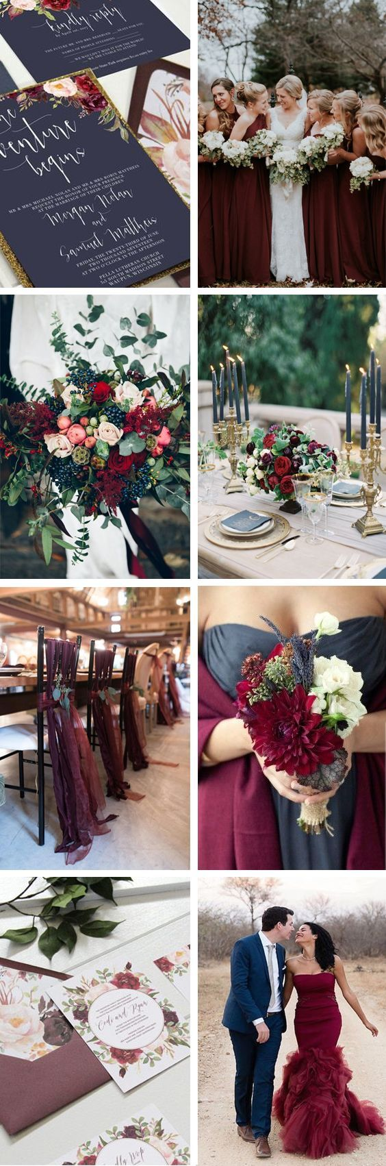 Navy and marsala wedding. Navy wedding. Marsala wedding. Burgundy wedding. Marsala table setting. Maroon bridesmaids dresses. Navy gold marsala wedding invitations by Unica Forma. Natural navy wedding bouquet.