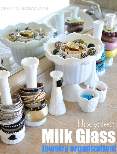 Upcycled MIlk Glass Jewelry Organization! #organization #upcycled
