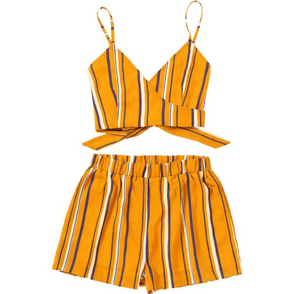 Striped Wrap Cami Top With Shorts ($25) ❤ liked on Polyvore featuring striped cami, orange camisole and orange cami