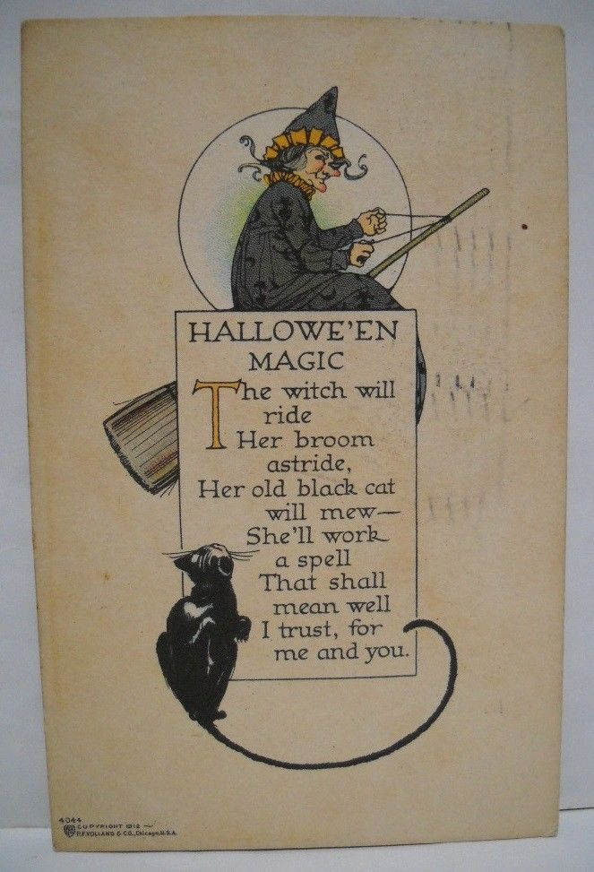 Vintage Halloween Postcard 1912 P.F. Volland