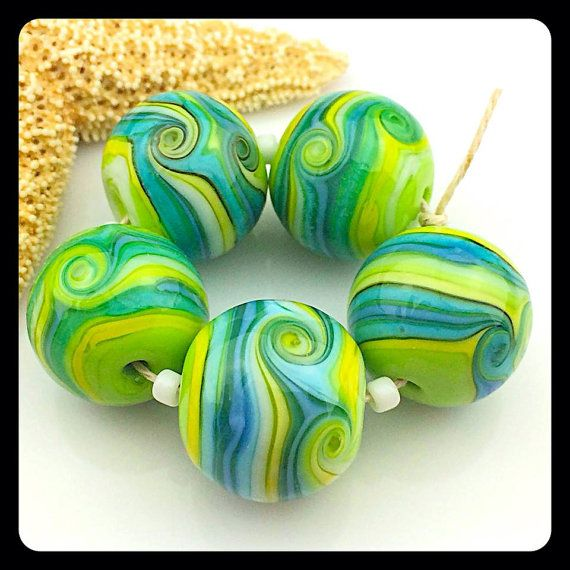 'Summer Patio Bead Set' Lampwork Art Glass Beads by BastilleBleuLampwork, $40.00 Etsy<3<3FRESH+FABULOUS<3<3