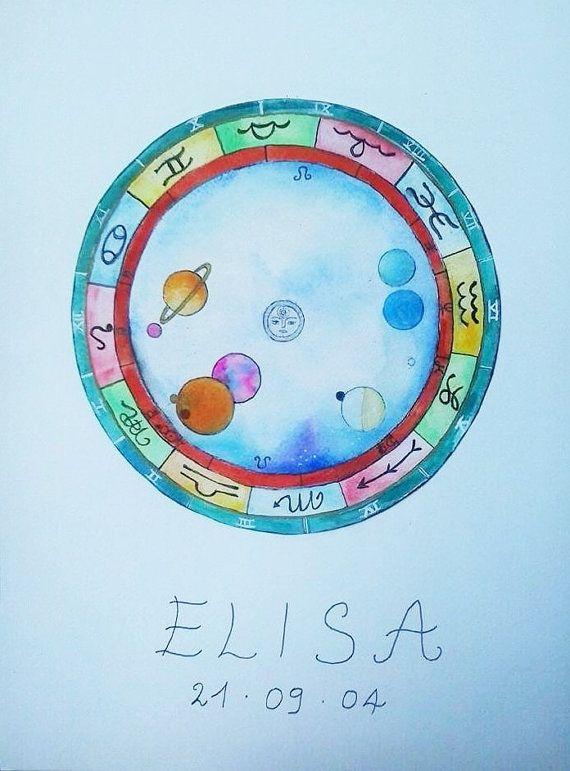 Tema natale dipinto a mano - Idea regalo unica per una nascita, un compleanno, un anniversario -  Arte originale astrologica by viadeitigli #italiasmartteam #etsy