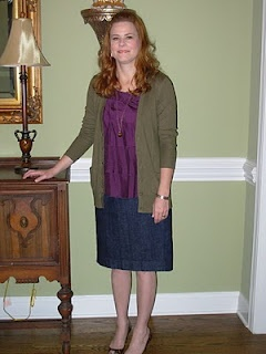 denim pencil skirt with purple top with olive cardiganDenim Pencil Skirts
