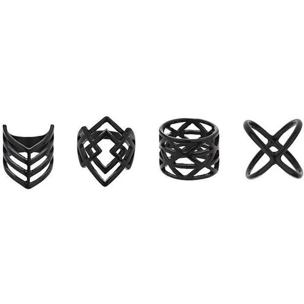 TopShop Matt Black Geometric Ring Pack (210 ARS) ❤ liked on Polyvore featuring jewelry, rings, black, topshop, topshop jewelry, kohl jewelry, metal rings and geometric ring